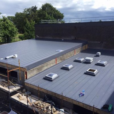 Single Ply Membrane with standing seams
